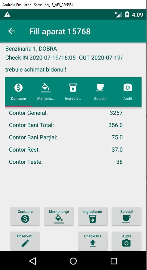 FillRepo Android raportare contoare automat cafea
